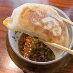 よだれ鷄につける山椒麺と餃子からの豆乳