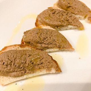 鶏レバーペーストのクロスティーニ