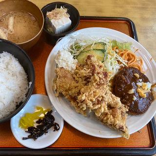 唐揚げハーフサイズ定食(ハンバーグ)