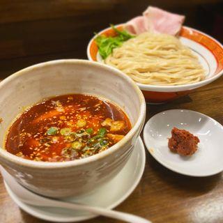 ピリ辛魚介肉つけ麺(麺や一芯)