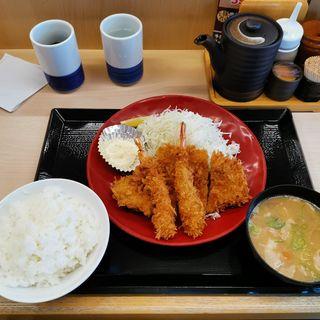 海老・ロースカツ定食