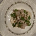 鮮魚と帆立貝のソテー ボルドー風ホワイトソースで