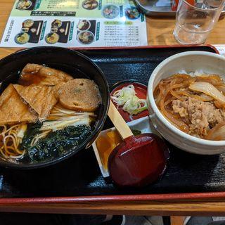 半きつねそば+牛丼(生そば 一力 蒲田店 (イチリキ))