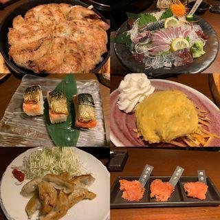 活豊後サバ、鉄板餃子、鯖寿司、安納芋ポテトサラダ