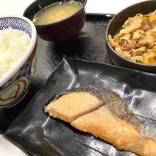 牛鮭定食ご飯大盛