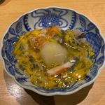 穴子、蕪、舞茸、蟹と菊花あんかけ