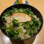 鮭と壬生菜の炊き込み