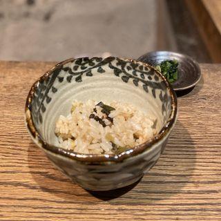 天然山菜の炊き込みご飯、大根抜き菜漬物