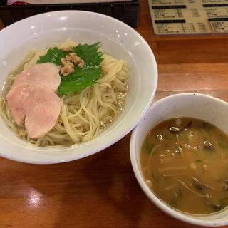 鶏とサツマイモのキノコ出汁つけ麺(醤油と貝と麺 そして人と夢 )