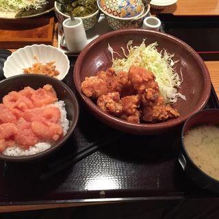 鶏の唐揚げめんたい風味定食(やまや 博多店 )