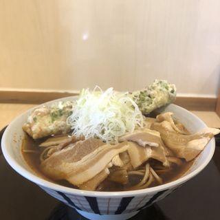 辛い肉そば(きまぐれ)+天ぷら(田そば (デンソバ))
