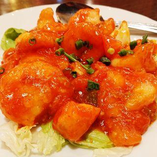 フレッシュトマトの大海老チリソース(青蓮 新川崎三井ビルディング店)