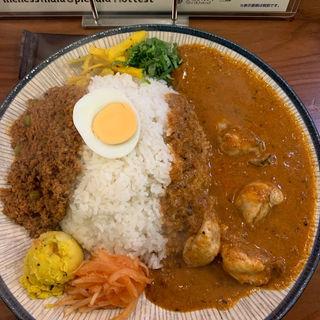 大辛チキンカレー&キーマカレーライス(フィッシュ)