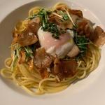 水菜と温玉のペペロンチーノ