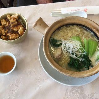 鶏白湯スープそば&麻婆飯