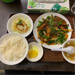 ニンニクの芽とレバー炒め(辛い)