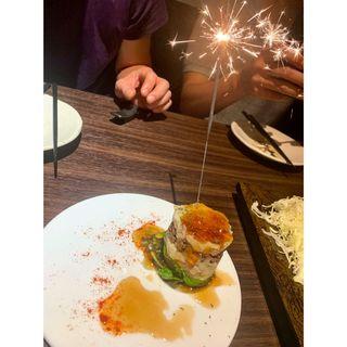 自家製ポテトサラダ〜ミルフィーユ仕立て(博多野菜巻串と鍋 尼崎 まきんど-巻人-)