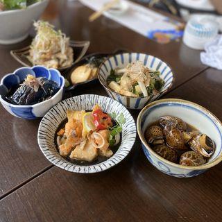 おばんざい5種(ナスの揚げ浸し、つるむらさきと小松菜のお浸し、ばい貝の旨煮、魚介の南蛮漬け、長芋の醤油漬け、鶏皮せんべいおろしポン酢)