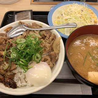 うまとろ豚たま牛めし豚汁生野菜セット(松屋 西新宿8丁目店 (マツヤ))