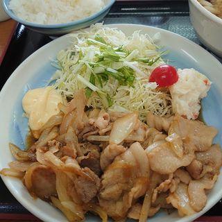 生姜焼き定食+Aセット(山田うどん 岩瀬店 )