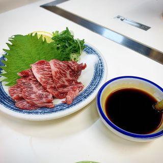 黒毛ハラミ刺し(ホルモン千葉 渋谷店)