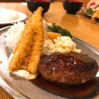 穴子フライとハンバーグ(洋食大吉)