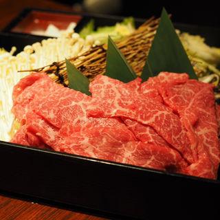 佐賀牛すき焼き(焔立つ肉寿司と牛タンタワー 肉処 双葉 三宮)