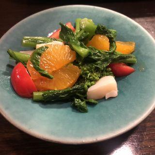菜の花、ホタテ、トマトのマリネ(Enoteca 眞  (エノテカシン))