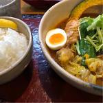 チキンスープ+やわらかチキン+キャベツ増量+ごはん中盛り(奥芝商店 八王子片倉城 )