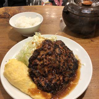 ハンバーグ+だし巻きオムレツ定食(サル食堂 )