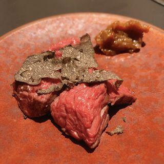 赤身肉低温調理の塊焼き