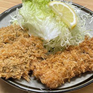 カキフライ2個と豚バラかつ(とんかつ藤芳 本店 )
