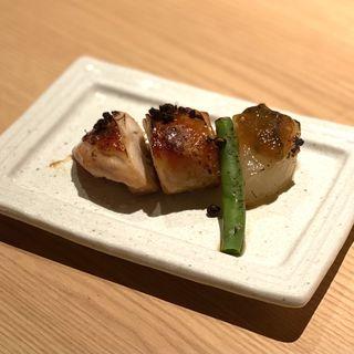 若鶏有馬焼き 葱味噌炊き大根(藁焼きとおばんざい まんざら)