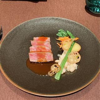 オリーブ牛と野菜のソテー