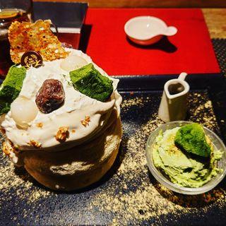 抹茶わらびもちと白ごまフラマンジェ風クリーム(Riz Labo Kitchen)