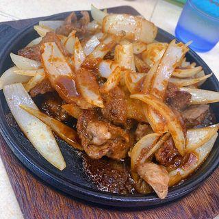 豚ハラミ定食(馬鹿盛ぽんぽこ)