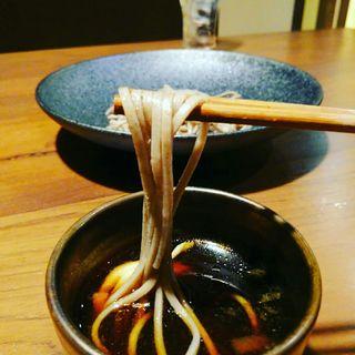 極コース 蕎麦 大摩桜とポルチーニ茸のつけ蕎麦(さつま極鶏専門店 だいまおう)