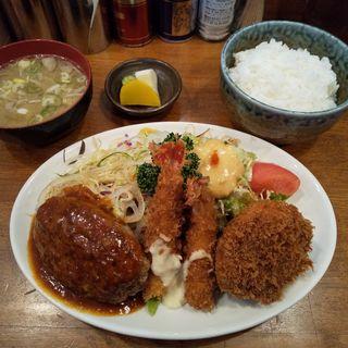 牛ぎゅうハンバーグ・エビフライ2本・日替わりコロッケ(さんきち )