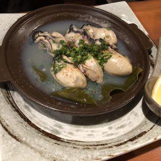 岡山県大粒なカキ酒蒸し(食堂 やすきち)