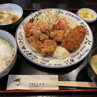 クリームコロッケと唐揚げ定食(旬菜魚いなだ)