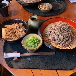 ざるそば大盛り+牛丼(蓮生 )