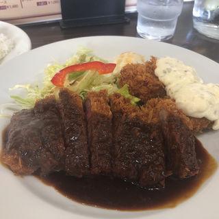 デミグラスビフカツ+カキフライ(洋食とステーキ 健)