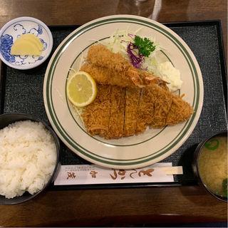 ミックス定食① ロースカツとエビフライ(とんかつ加茂 )