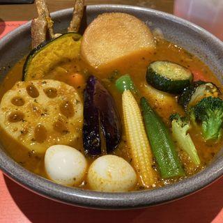 いももちと彩り野菜カリー(トマトスープ)(Curry&Cafe SAMA 神田店)