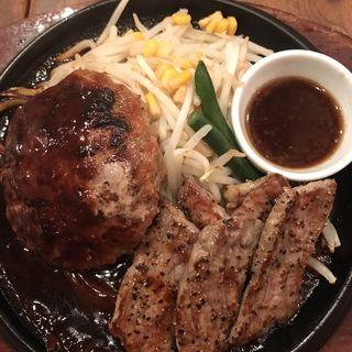 黒毛牛入り松木ハンバーグ&カットサーロインステーキ(シェーンズバーグ 錦糸町店)