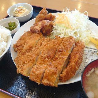 ジャンボチキンカツ定食+唐揚げ2(下妻食堂 陽陽 )