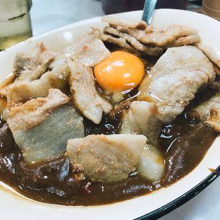 スタミナカレー(生卵のせ)