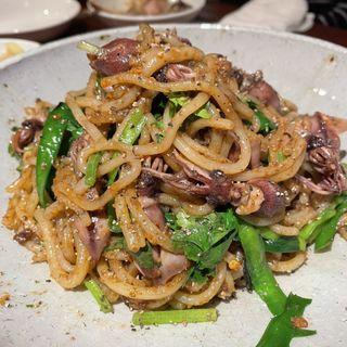 ホタルイカと九条ネギノビーフン(南方中華料理 南三)