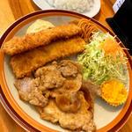 豚ロース生姜焼きとイカフライ定食