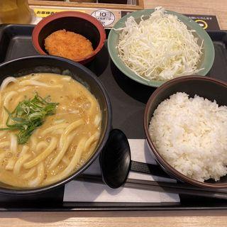 得朝クリームカレーうどん定食(松のや 新橋店)